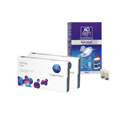 Sparset: Biofinity Toric - 3 und AO Sept Plus HydraGlyde