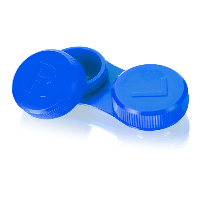 Linsenbehälter flach blau - 1x