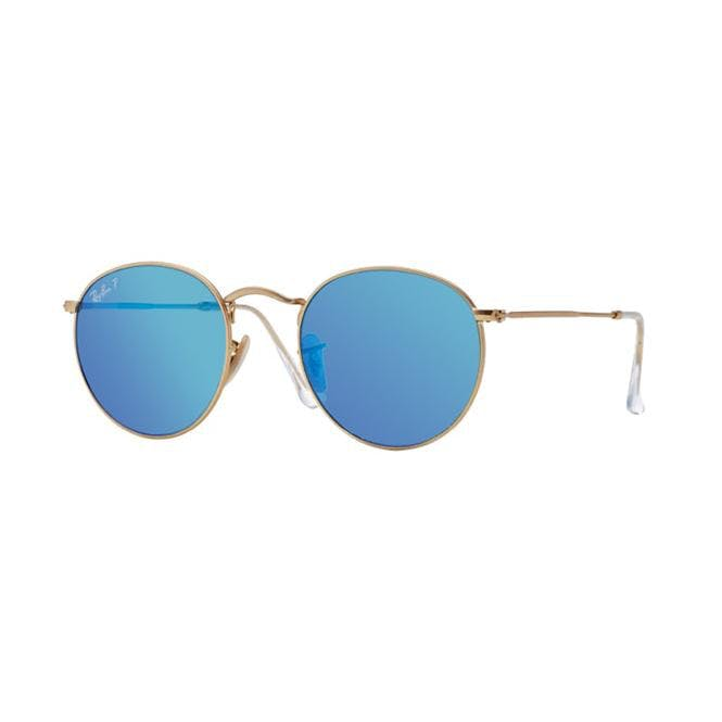 Ray-Ban ROUND METAL 50-21 RB3447 112/4L Grey Mirror Blue Polar Anti-Glaring